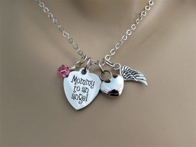 Mommy To An Angel Heart Necklace With Heart Cremation  Urn, Angel Wing & Swarovski Birthstone