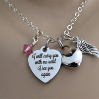 I Will Carry You With Me Heart Necklace w/ Heart Urn, Angel Wing & Swarovski Bead, Cremation