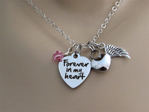 Forever In My Heart Heart Necklace With Heart Urn, Angel Wing & Swarovski Bead, Cremation