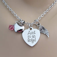 Aunt To An Angel Heart Necklace w/ Heart Urn, Angel Wing & Swarovski Birthstone, Cremation
