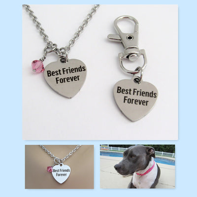 2PC Best Friends Forever Heart Necklace w/Birthstone & Matching Dog Collar Charm, Laser Engraved