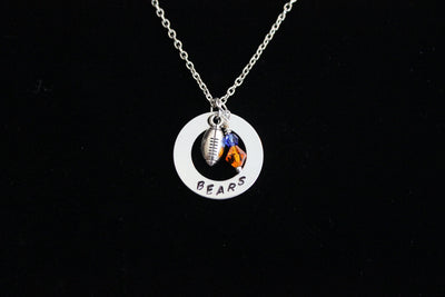 Bears Stamped Necklace w/ Swarovski Crystal Beads & Silver Football Charm, Support Child's Team