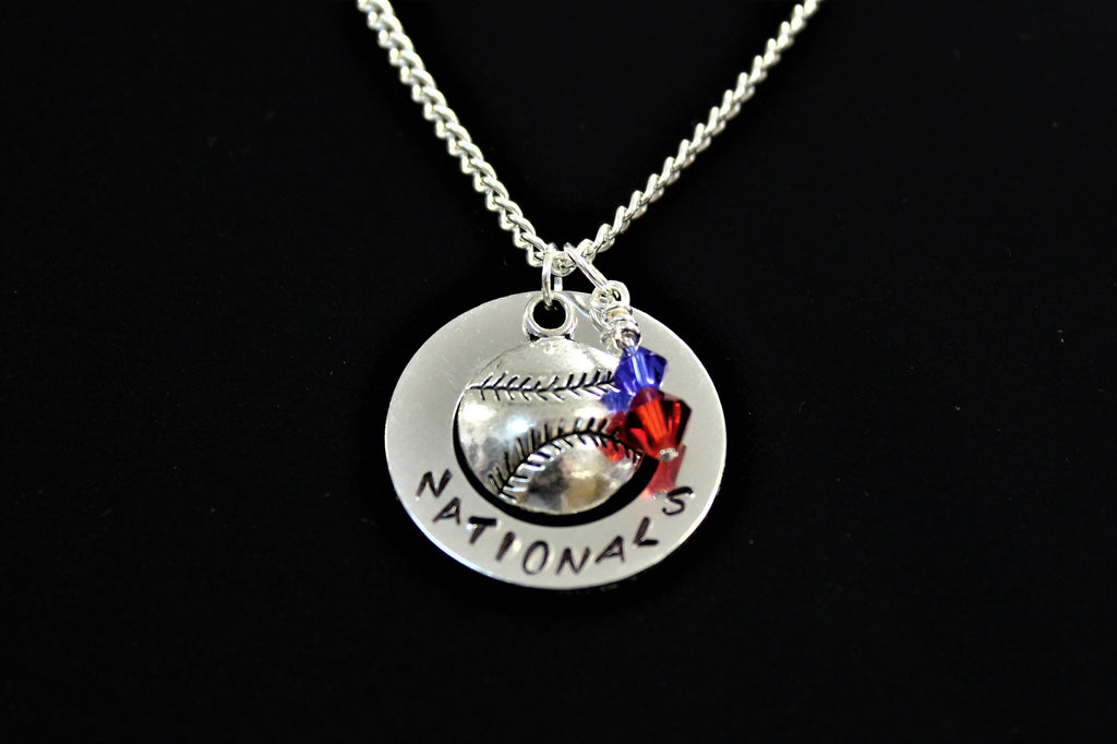 Nationals Stamped Necklace w/ Swarovski Beads & Baseball Charm, Support Child's Team