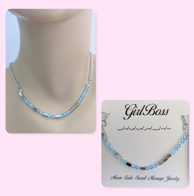 Girl Boss Morse Code Stainless Steel and Swarovski Crystal Birthstone Delicate Necklace