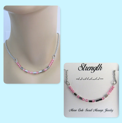 Strength Morse Code Stainless Steel and Swarovski Crystal Birthstone Delicate Necklace