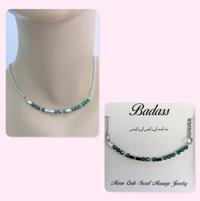 Badass Morse Code Stainless Steel and Swarovski Crystal Birthstone Delicate Necklace