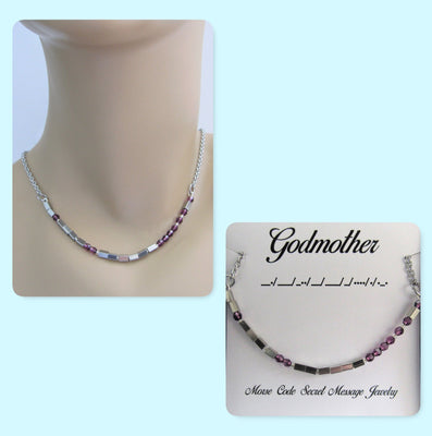 Godmother Morse Code Stainless Steel and Swarovski Crystal Birthstone Delicate Necklace