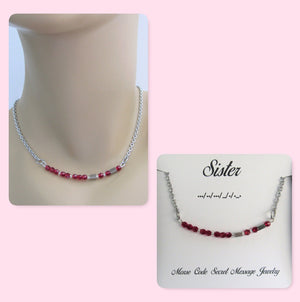 Sister Morse Code Stainless Steel and Swarovski Crystal Birthstone Delicate Necklace