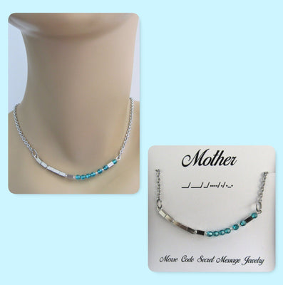 Mother Morse Code Stainless Steel and Swarovski Crystal Birthstone Delicate Necklace