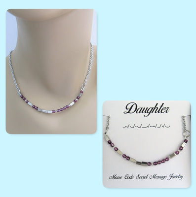 Daughter Morse Code Stainless Steel and Swarovski Crystal Birthstone Delicate Necklace