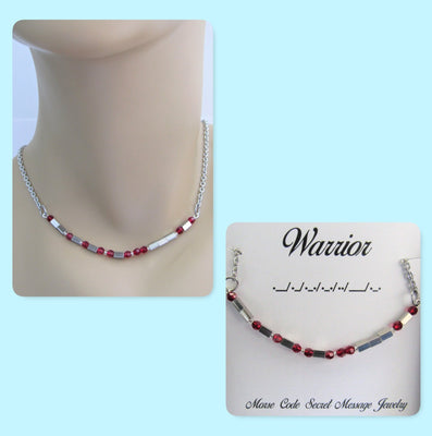Warrior Morse Code Stainless Steel and Swarovski Crystal Birthstone Delicate Necklace