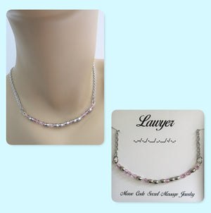 Lawyer Morse Code Stainless Steel and Swarovski Crystal Birthstone Delicate Necklace