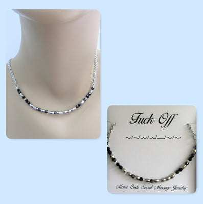 F*ck Off Morse Code Stainless Steel and Swarovski Crystal Birthstone Delicate Necklace