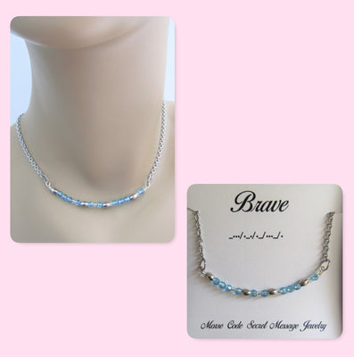 Brave Morse Code Stainless Steel and Swarovski Crystal Birthstone Delicate Necklace