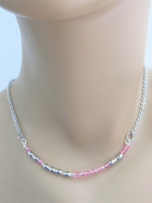 Pothead Morse Code Stainless Steel and Swarovski Crystal Birthstone Delicate Necklace