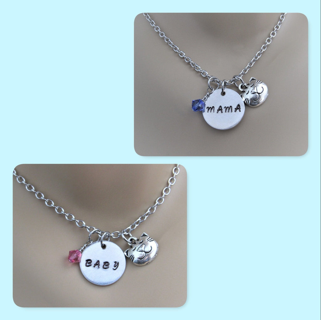 Mama Cat and Baby Cat Necklace with Cat Charm & Swarovski Birthstone, Mommy & Me
