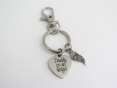 Daddy To An Angel Heart Keychain With Silver Angel Wing Charm