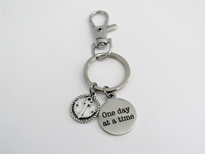 One Day At A Time Circle Keychain With Silver Anchor Charm, Laser Engraved