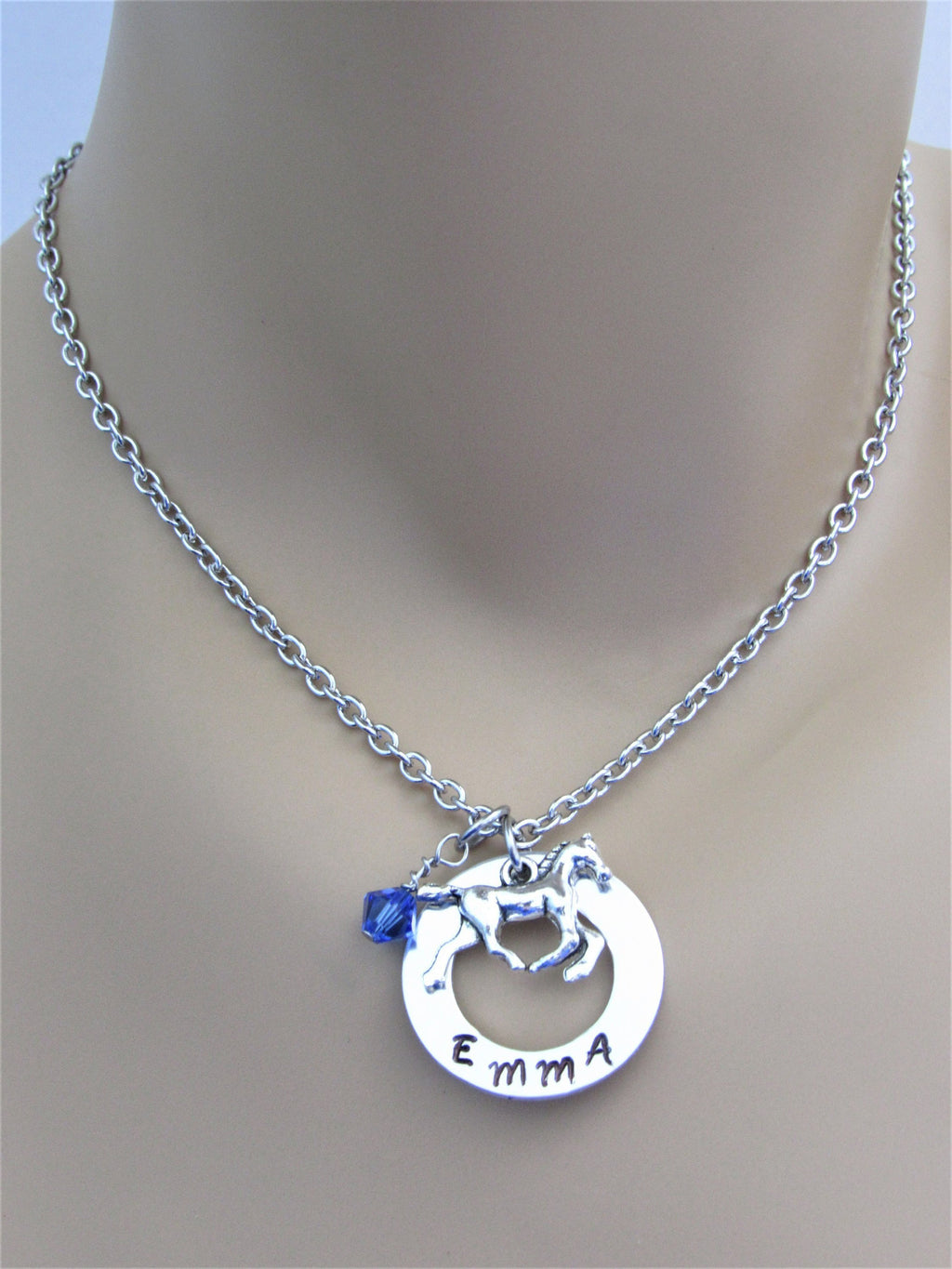 Personalized Stamped Necklace w/ Horse Charm and Swarovski Crystal Birthstone Bead