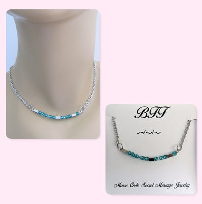 BFF Morse Code Stainless Steel and Swarovski Crystal Birthstone Delicate Necklace