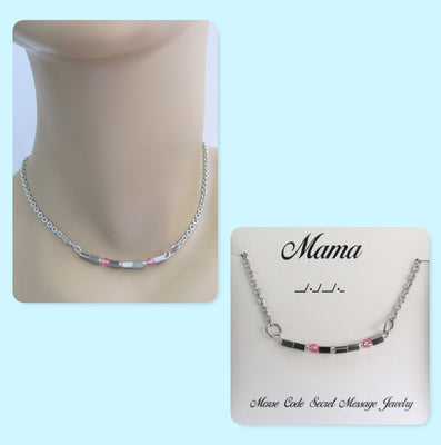Mama Morse Code Stainless Steel and Swarovski Crystal Birthstone Delicate Necklace