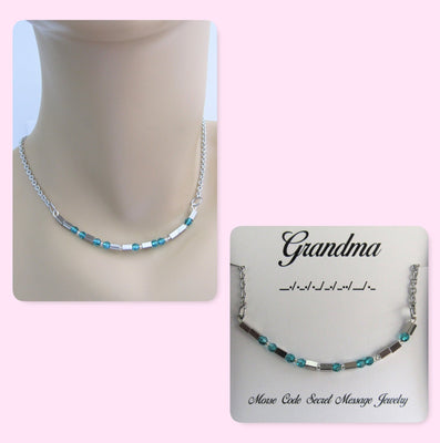 Grandma Morse Code Stainless Steel and Swarovski Crystal Birthstone Delicate Necklace