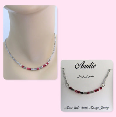 Auntie Morse Code Stainless Steel and Swarovski Birthstone Delicate Necklace