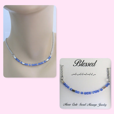 Blessed Morse Code Stainless Steel and Swarovski Crystal Birthstone Delicate Necklace