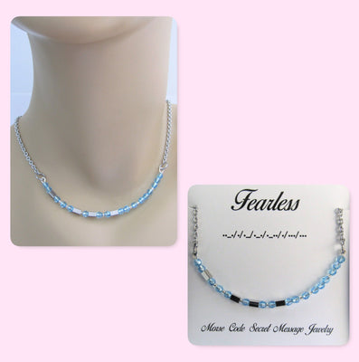 Fearless Morse Code Stainless Steel and Swarovski Crystal Birthstone Delicate Necklace