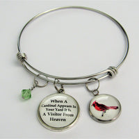 When A Cardinal Appears In Your Yard It Is A Visitor From Heaven Bracelet w/ Cardinal, Glass