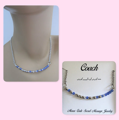 Coach Morse Code Stainless Steel and Swarovski Crystal Birthstone Delicate Necklace