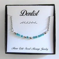 Dentist Morse Code Stainless Steel and Swarovski Crystal Birthstone Delicate Necklace