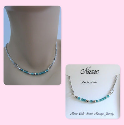 Nurse Morse Code Stainless Steel and Swarovski Crystal Birthstone Delicate Necklace