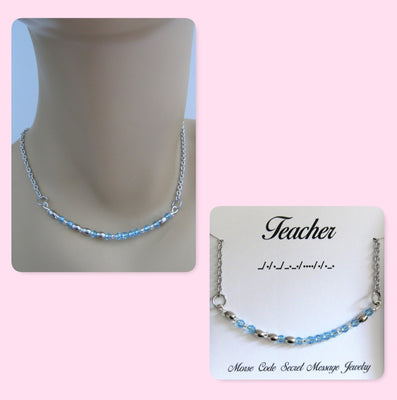 Teacher Morse Code Stainless Steel and Swarovski Crystal Birthstone Delicate Necklace