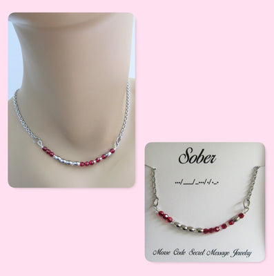 Sober Morse Code Stainless Steel and Swarovski Birthstone Delicate Necklace, Soberity Necklace