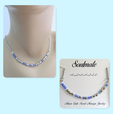 Soulmate Morse Code Stainless Steel and Swarovski Crystal Birthstone Delicate Necklace