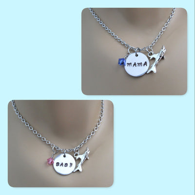 Mama Shark & Baby Shark Necklace w/Shark Charm & Swarovski Birthstone, Mommy & Me