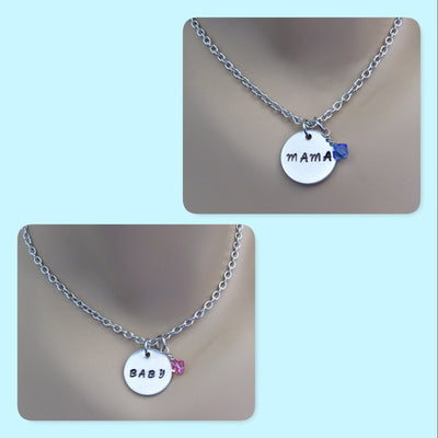 Mama Necklace and Baby Necklace with Swarovski Crystal Birthstone Bead, Mommy & Me