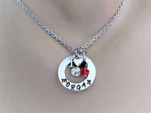 Personalized Volleyball Stamped Necklace w/ I Love Volleyball Charm & Swarovski Team Colors