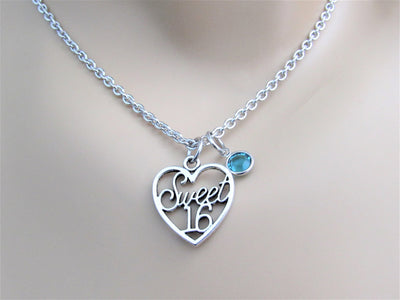 Sweet 16 Charm Necklace with Swarovski Birthstone Bead