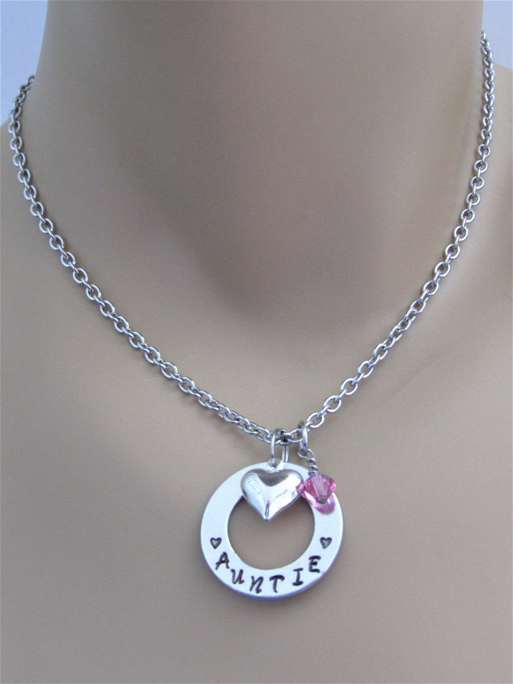 Auntie Hand Stamped Necklace w/ Swarovski Birthstone Bead and Silver Heart Charm