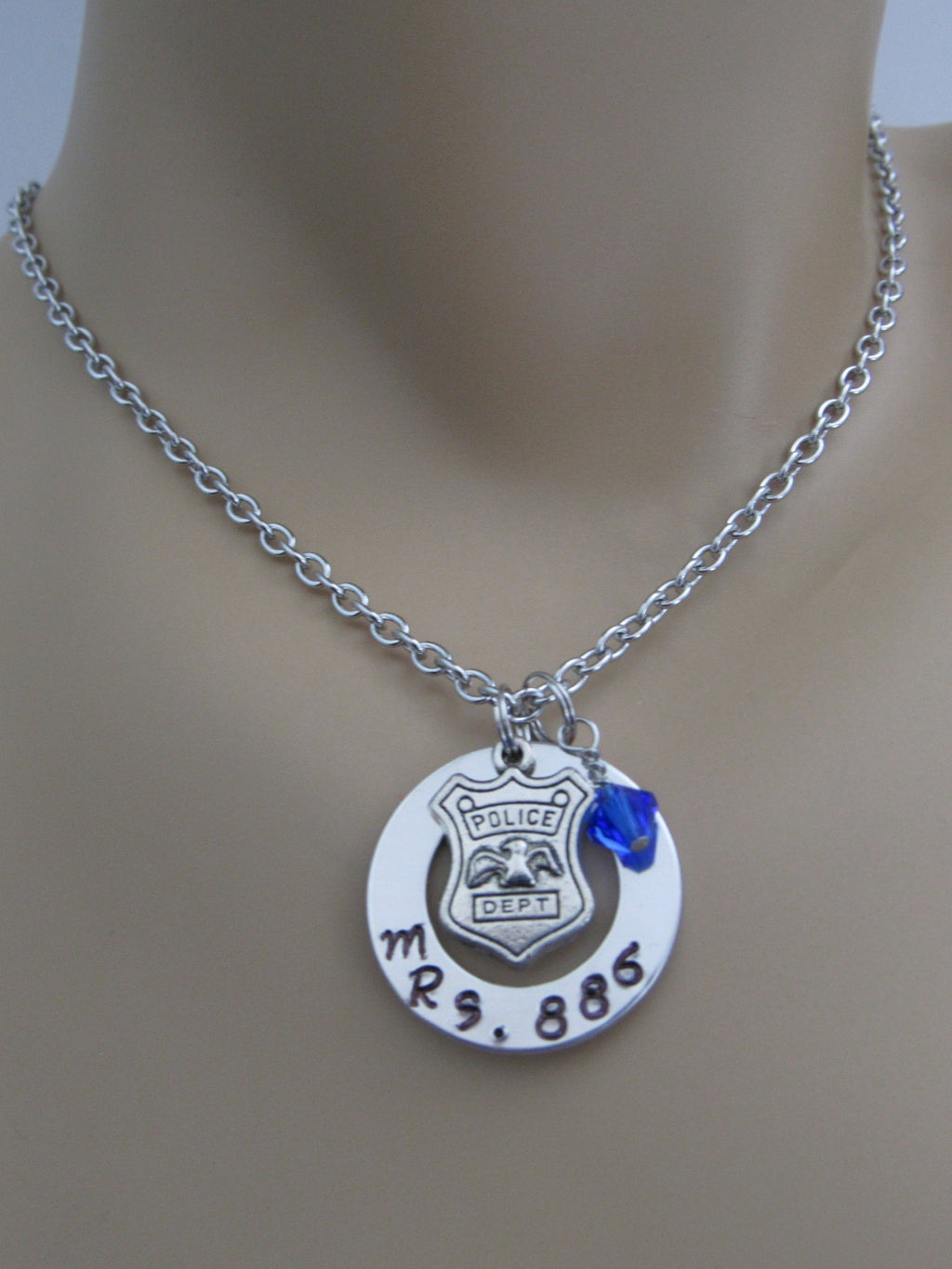 Mrs. Policewoman, Mrs. Police Wife Stamped Necklace w/ Custom Badge Number & Blue Swarovski Bead
