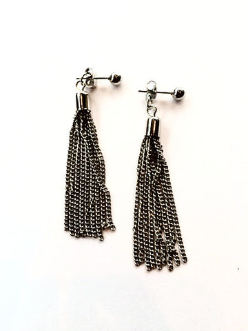 Silver Fringe Tassel Earrings