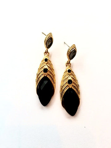 Gold and Black Vintage Inspired Earrings