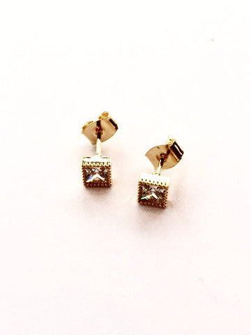 Gold and Crystal Square Stud Earrings