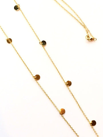 Long Delicate Disc Necklace