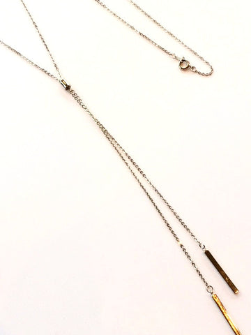 Long Silver Fixed Lariat Necklace