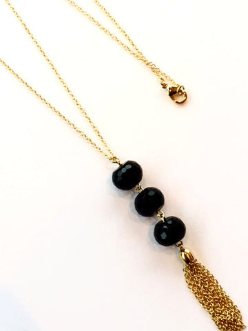 Gold and Black Beaded Necklace