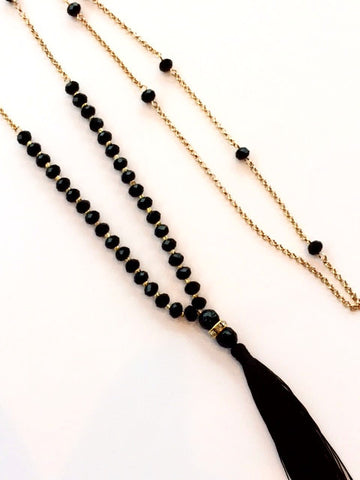 Black Beaded Long Necklace with Black Tassel Necklace