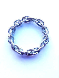 Silver cable metal stretch bracelet